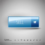 Modern button SELL with icons set. - stock illustration