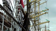 Stock Video Footage of Sail 2015 Bremerhaven 042HD windjammer masts and rigging