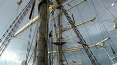 Stock Video Footage of Sail 2015 Bremerhaven 047HD masts and rigging on board windjammer Dar Mlodziezy
