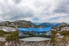 Dachstein panorama with info sign Stock Photos