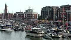 Sail 2015 Bremerhaven 050HD many ships and boats in new harbor Stock Footage