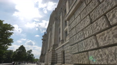 The Reichstag Building's stone walls in Berlin Stock Footage