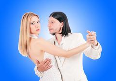 Pair dancing dances against the gradient Stock Photos