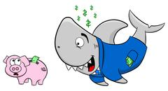 Smiling financial shark and frightened piggy bank Stock Illustration