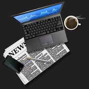 Stock market graph on laptop screen and mobile phone with black coffee - stock illustration