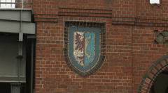 The Oberbaumbrücke's coat of arms in Berlin Stock Footage