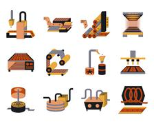 Stock Illustration of Flat color icons for food processing