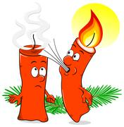 Cartoon of a Christmas candle that blows out another candle Stock Illustration