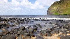 Rocky shoreline in Hawaii Stock Footage
