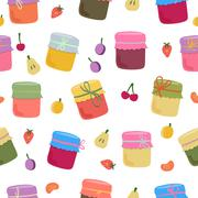 Seamless pattern with home-made jams and fruits - stock illustration