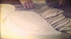 Vintage video. Making cheese traditional manually. 8mm Stock Footage