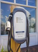 Electric car charging station. Stock Photos