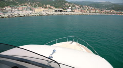 Bow of a yacht navigating in Liguria, Italy Stock Footage