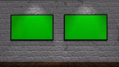 Virtual Studio - brick wall background with animated green screen monitors Stock Footage