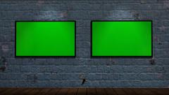 Virtual Studio - brick wall background with animated green screen monitor Stock Footage