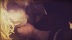 Vintage video. Manual milking a sheep 8mm - stock footage