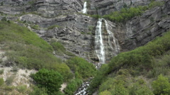 Waterfall mountain Bridal Veil Falls family enjoy summer 4K Stock Footage