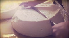 Vintage video. Making cheese traditional manually. 8mm - stock footage