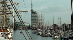 Sail 2015 Bremerhaven 051HD long view into festive new harbor Stock Footage