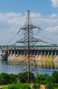 hydroelectric dam - stock photo