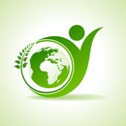 Eco people celebration icon with leaf and earth design vector - stock illustration