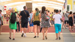 People visit Expo Milano 2015 Stock Footage