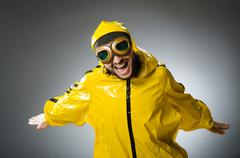 Man wearing yellow suit and aviator glasses Stock Photos