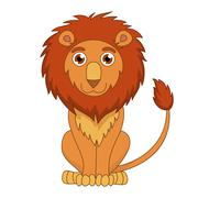 Cute cartoon lion with fluffy mane and kind muzzle - stock illustration
