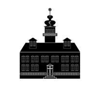 Silhouette of a castle in baroque or renaissance style in white and black des Stock Illustration