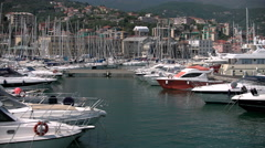Marina di Varazze seen from a navigating boat - stock footage