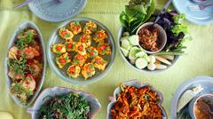 Top view of Thai cuisine dishes, famous international food - stock photo