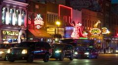 4K Nashville Honky-tonk District Night Timelapse 6a Stock Footage