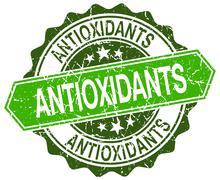 Stock Illustration of antioxidants green round retro style grunge seal