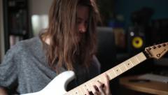 Metal Avid Plays Electric Guitar Stock Footage