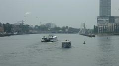 Boats floating on Spree River in Berlin Stock Footage