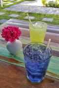 Colorful icy drink refreshments in the garden Stock Photos