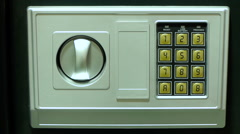 Stock Video Footage of Opening a safe with numerical keypad