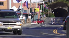 Small town Ketchikan traffic Stock Footage