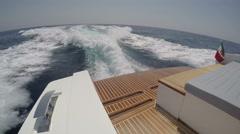 Rear view of fancy sport boat navigating - stock footage
