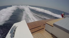 Rear view of fancy sport boat navigating Stock Footage