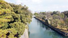 canal around nijo castle in Kyoto Japan - stock photo