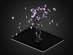 Social media icons set in tree shape on Modern black tablet pc. - stock illustration