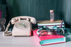 Stationery and telephone - stock photo
