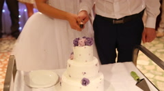 Cutting wedding cake Stock Footage