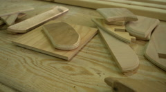 Small pieces of wood in a carpenter's workshop Stock Footage