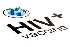 Science research by HIV Oral vaccine capsule, aids - stock photo
