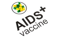 Science research by AIDS Oral vaccine capsule, HIV - stock photo