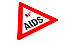 Stop AIDS and HIV, capsule with Warning Sign - stock photo