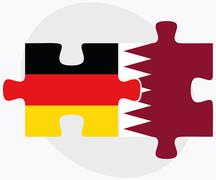 Germany and Qatar Flags - stock illustration