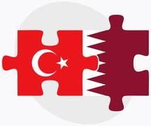 Turkey and Qatar Flags - stock illustration